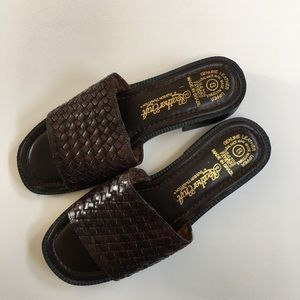 Open Toe Brown Woven Leather Low Heel Sandal